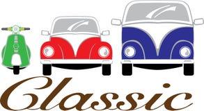 Vehicle. Three type of vintage vehisle vespa, beetle car and van Stock Photos