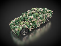 Vehicle with abstract carbody in green. 3D rendering: vehicle with abstract carbody in camouflage Royalty Free Stock Images