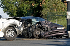 Vehicle accident. Two Vehicle accident at a busy intersection stock photography