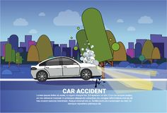 Vehicle Accident Concept Broken Car On Road At Night Over City Background With Copy Space. Flat Vector Illustration Royalty Free Stock Image
