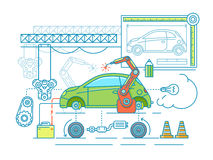 Vehicle assembling flat design Royalty Free Stock Images