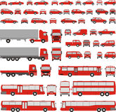 Vehicle-assorted silhouettes, vector illustratio. Assorted vehicle silhouettes vector illustration car, bus, truck Stock Photo