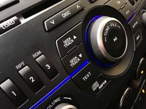 Vehicle audio control. Mazda 3 cockpit audio stereo control royalty free stock image