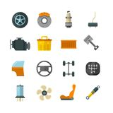 Vehicle auto technology, car parts flat vector icons Royalty Free Stock Photo