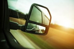 Vehicle Blind Spot Assistance. In the Side Mirror of Pickup Truck Royalty Free Stock Images