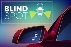 Free Vehicle Blind Spot Monitor Assist Cartoon Vector Stock Image - 130353721