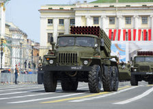 Vehicle BM-21-1 MLRS Grad on rehearsal of parade in honor of Victory Day. Palace square, St. Petersburg Royalty Free Stock Images