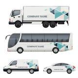 Vehicle branding. Transportation advertizing bus truck van car realistic vector mockup. Illustration of bus and van truck, vehicle car transport royalty free illustration