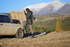 Vehicle breakdown on the mountain. Royalty Free Stock Image