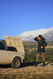 Vehicle breakdown on the mountain. Stock Images