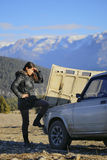 Vehicle breakdown on the mountain. Royalty Free Stock Images