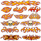 Vehicle car and bike color vinyl decals isolated vector set. Hot fire decal artwork, illustration of pattern fire stencil Stock Photos