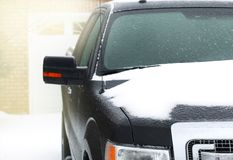 Vehicle car covered in freezing rain. Stock Photo