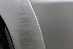 Vehicle car scratch damage from accident Stock Image