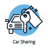 Vehicle or car sharing, share economy concept outline design Royalty Free Stock Photo
