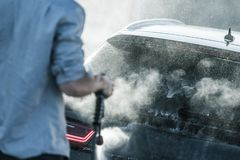 Vehicle Cleaning in Car Wash royalty free stock photo