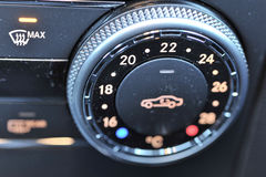 Vehicle climate control dial. On dashboard in car stock photography