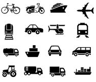 Vehicle transport sillhouetes simple clip arts. Flat simple vehicle vectors with eps file Royalty Free Stock Photos