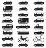 Vehicle collection with various jeep, car, bus, bicycle, lorry silhouette icons. Vehicle collection with various jeep, car, bus, bicycle, lorry silhouette royalty free illustration