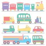 Vehicle colorful cartoon set Stock Photos