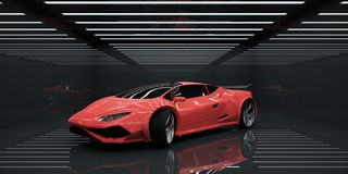 Vehicle concept. Modern sportscar in abstract illuminated interior. Vehicle concept. 3D Rendering Stock Photos