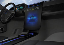 Vehicle console monitor showing screen shot of computer system was hacked. Concept for risk of self-driving car. 3D rendering image Royalty Free Stock Photos