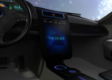 Vehicle console monitor showing screen shot of computer system was hacked. Concept for risk of self-driving car. 3D rendering image Royalty Free Stock Images