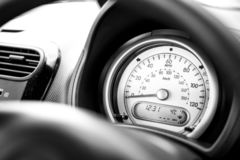 Vehicle dashboard gauge - speedometer - speed in mph. Car stock photography