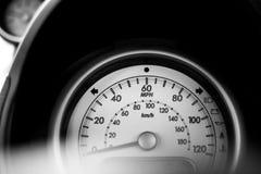 Vehicle dashboard gauge - speedometer - speed in mph. Car stock image