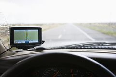 Vehicle dashboard with GPS. royalty free stock photos