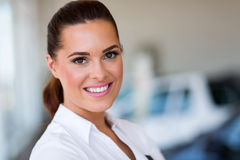 Vehicle dealership saleswoman Stock Images