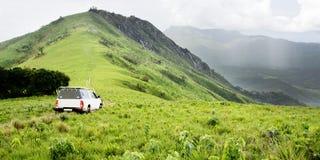 Vehicle on Dirt Track at Jalawe Rock. Nyika Plateau, Malawi, Africa Stock Image