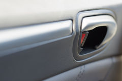 Vehicle Door Locked with Leather Panelling. Showing Stock Photography