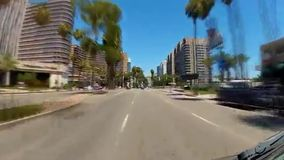 Vehicle driving on Ocean Boulevard in downtown Long Beach. Video of vehicle driving on Ocean Boulevard in downtown Long Beach stock footage
