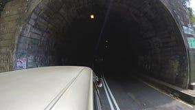 Vehicle driving through tunnel in Sri Lanka. stock footage