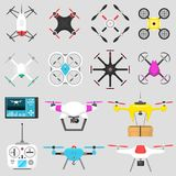 Vehicle drone quadcopter Vector illustration air hovering tool remote control fly camera. Air drone hovering wireless tool. Remote control fly camera vector illustration