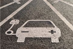 Vehicle electricity charging sign stock photos