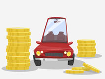 Vehicle expenses. Red car and money Stock Image