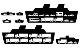 Vehicle ferries. With cars trucks and passengers Stock Photos