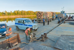Vehicle ferry comes nearer to the mooring. Russia Royalty Free Stock Image