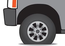 Vehicle with a flat tire. A vehicle has a flat tire that badly needs inflating and repairing royalty free illustration