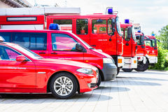 Vehicle fleet of the voluntary fire brigade Stock Photo