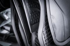 Vehicle Floor Mats. Car Floor Mats Selection on the Store Rack. Keeping Vehicle Clean Inside stock image