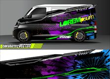 Vehicle graphic kit. abstract lines with camouflage background for race car, van and pickup truck vinyl sticker wrap