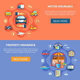 Vehicle And House Insurance Horizontal Banners. Transport and property elements in flat style vector illustration Royalty Free Stock Image
