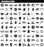 100 vehicle icon set, simple style. 100 vehicle icon set. Simple set of 100 vehicle vector icons for web design isolated on white background Stock Illustration