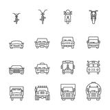 Vehicle icon sets, Line icons. Stock Photo