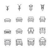 Vehicle icon sets, Line icons. Stock Photo