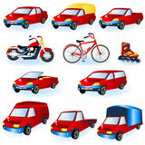 Vehicle icons. Illustration of 11 different red vehicle icons vector illustration