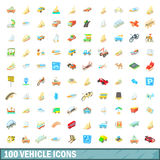 100 vehicle icons set, cartoon style Stock Photo